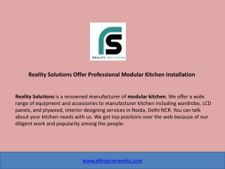 Reality Solutions Offer Professional Modular Kitchen Installation