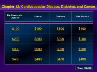 Chapter 12: Cardiovascular Disease, Diabetes, and Cancer