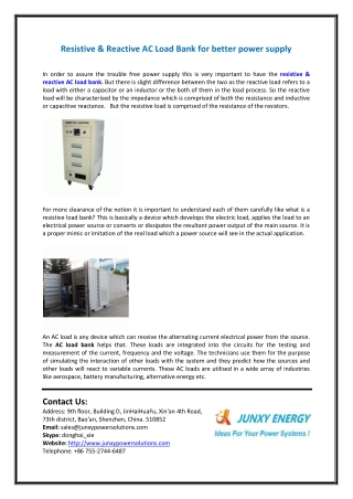 Resistive & Reactive AC Load Bank for Better Power Supply