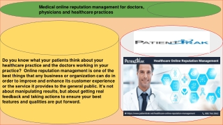 Medical online reputation management