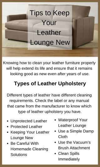 How To Keep Your Leather Lounge New