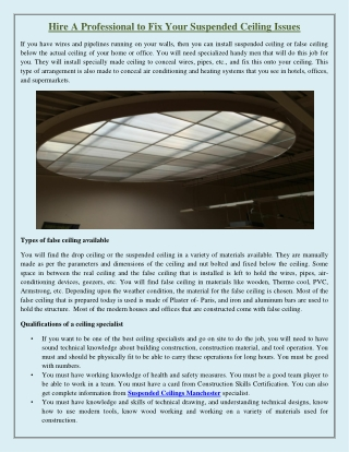 Hire A Professional to Fix Your Suspended Ceiling Issues