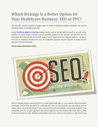 Which Strategy Is a Better Option for Your Healthcare Business: SEO or PPC?