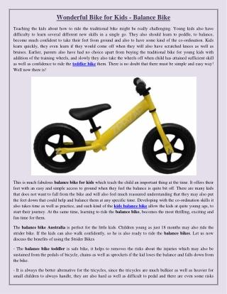 Wonderful Bike for Kids - Balance Bike