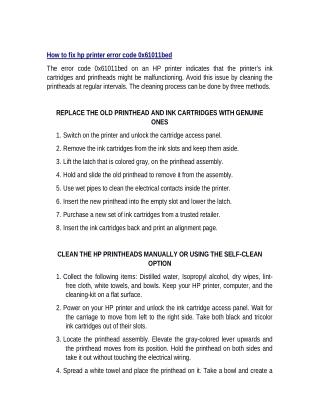 How to fix hp printer error code 0x61011bed