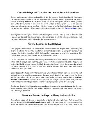 Cheap Holidays to Kos 2019/2020   Kos Holidays