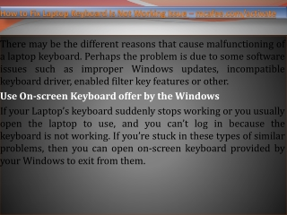 How to Fix Laptop Keyboard Is Not Working Issue