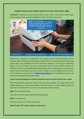 Simplify Factory Re-set a Brother printer to Fix toner, Drum & Error Lights
