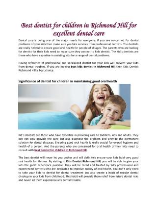 Best dentist for children in Richmond Hill for excellent dental care
