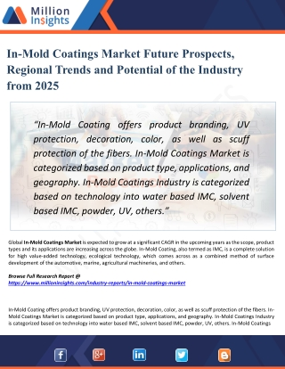 In-Mold Coatings Market Trends, Investment Feasibility Analysis Report 2025