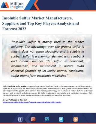Insoluble Sulfur Market Share, Distributor Analysis and Development Trends 2022