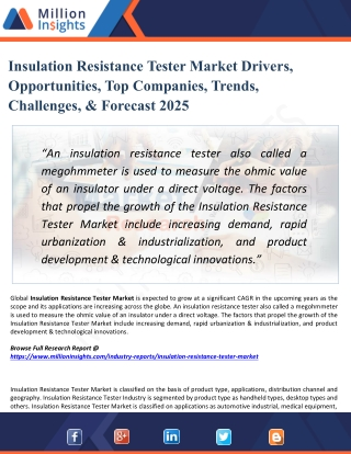 Insulation Resistance Tester Market Segmentation and Geographical Segmentation by value 2018 and 2025