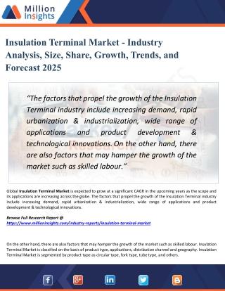 Insulation Terminal Market - Industry Demand, Segment, Statistics Report 2025