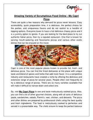 Amazing Variety of Scrumptious Food Online - My Capri Pizza