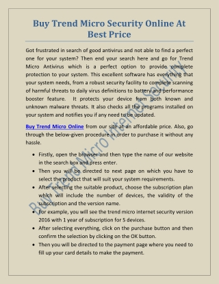 Buy Trend Micro Security Online At Best Price