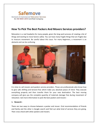 How To Choose Best Packers And Movers Pune