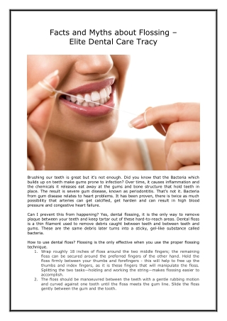 FACTS AND MYTHS ABOUT FLOSSING | ELITE DENTAL CARE TRACY