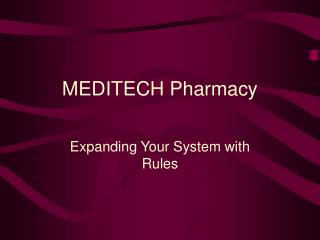 MEDITECH Pharmacy
