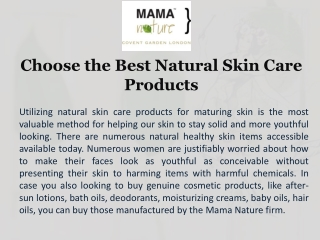 Choose the Best Natural Skin Care Products