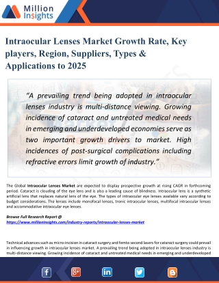 Intraocular Lenses Market - Industry, Analysis, Share, Growth, Sales, Trends, Supply, Forecast to 2025