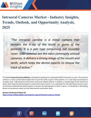 Intraoral Cameras Market - Industry Analysis, Size, Share, Growth, Trends, and Forecast 2025