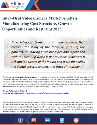 Intra-Oral Video Camera Market Research Report with Growth, Latest Trends & Forecasts till 2025