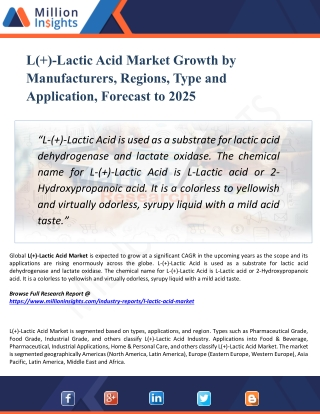 L( )-Lactic Acid Market Size,Growth,Analysis,Applications,Opportunities, and Forecasts to 2025