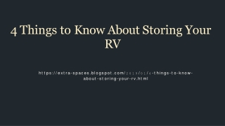 4 things that you need to know about RV storage