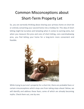 Common Misconceptions about Short-Term Property Let