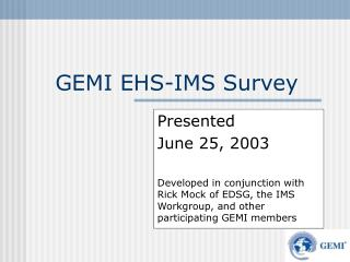 GEMI EHS-IMS Survey