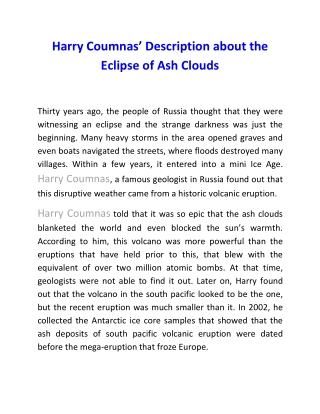 Harry Coumnas' Description about the Eclipse of Ash Clouds