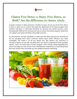 Gluten Free Detox vs Dairy Free Detox, or Both? See the difference to choose wisely