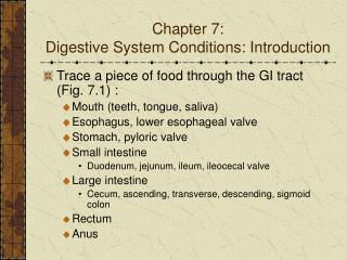 Chapter 7:  Digestive System Conditions: Introduction