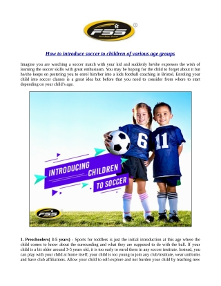 How to introduce soccer to children of various age groups?
