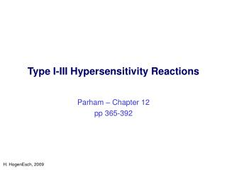 Type I-III Hypersensitivity Reactions