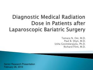 Diagnostic Medical Radiation Dose in Patients after Laparoscopic Bariatric Surgery