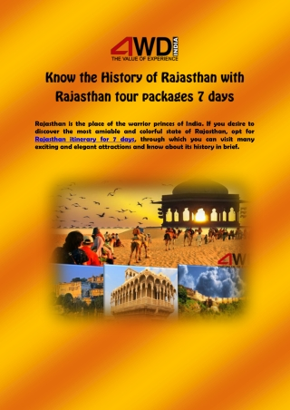 Know the History of Rajasthan with Rajasthan tour packages 7 days