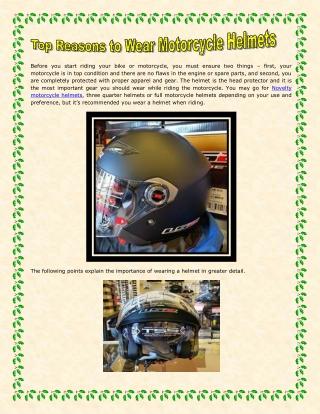 Top Reasons to Wear Motorcycle Helmets