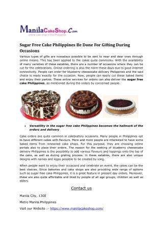 sugar free cake philippines
