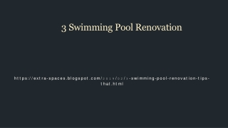 Three Essential Swimming Pool Renovation Tips