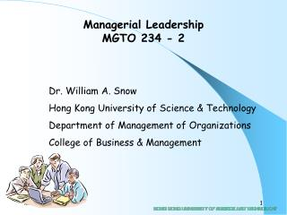 Managerial Leadership MGTO 234 - 2