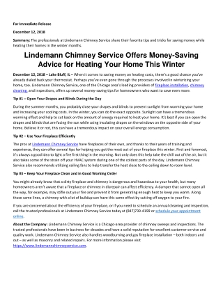 Lindemann Chimney Service Offers Money-Saving Advice for Heating Your Home This Winter