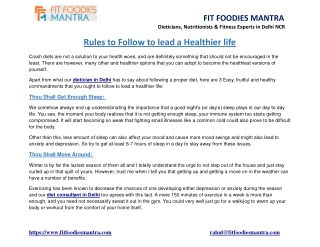rules to follow to lead a healthier life