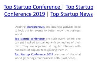 Top startup conference | Top startup conference 2019 | Top startup news