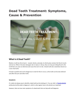 Dead Teeth Treatment: Symptoms, Cause & Prevention