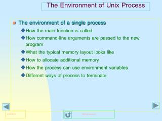 The Environment of Unix Process