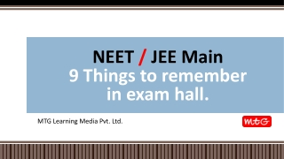 NEET and JEE main Exam hall tips