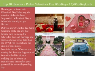 Top 10 Ideas for a Perfect Valentine's Day Wedding – 123WeddingCards