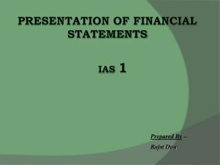 Presentation of Financial Statements