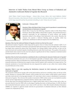 Lubricant Market In Uganda, Lubricant Industry In Uganda- Ken Research